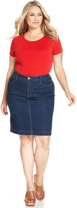 Jones New York Signature Plus Size Denim Skirt
