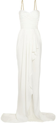 Balmain Ruched silk-satin gown