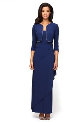 Alex Evenings Jersey Side Draped Gown with Bolero Jacket