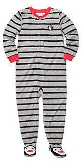 Carter's Boys' 4-7 Grey Striped Penguin Footed Pajamas