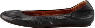 Lanvin Scrunched Leather Classic Ballerina Flat, Black