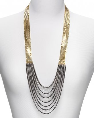 """Aqua Disco Mesh and Chain Necklace, 26""""L"""