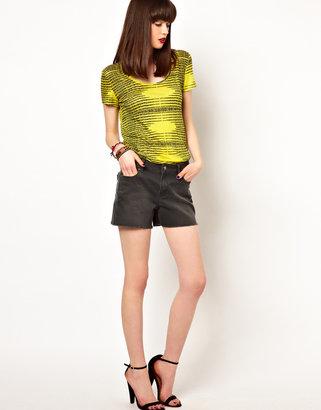 Eleven Paris Cut Off Denim Shorts in Stone Gray