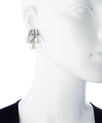 Ben-Amun Ben Amun Silver Pearl And Crystal Baguette Clip On Earrings