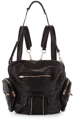 Alexander Wang Marti Washed Lambskin Backpack, Black/Rose Gold $1,150 thestylecure.com