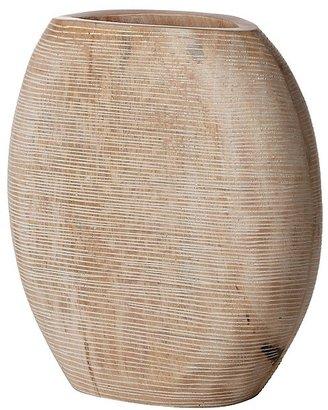 Donna Karan Lenox Hand Carved Wood Light Carved Round Vase