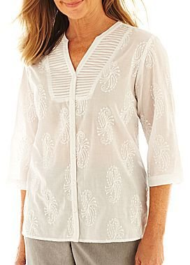 Alfred Dunner French Riviera Solid Paisley Embroidered Shirt