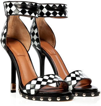 Givenchy Black/White Woven Leather Ankle Strap Sandals