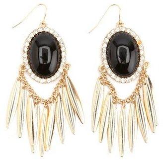 Charlotte Russe Dangling Smooth Stone & Fringe Earrings