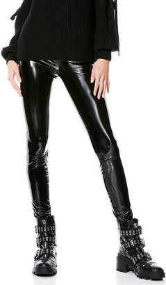 Alice + Olivia Maddox Back-Zip Vegan Leather Leggings