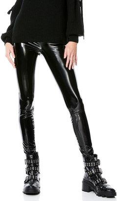 Alice + Olivia Maddox Back-Zip Vegan Leather Leggings