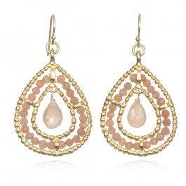 Wendy Mink Double Teardrop Earrings, Peach Moonstone