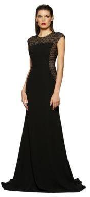 Carmen Marc Valvo Embellished Cap Sleeve Gown