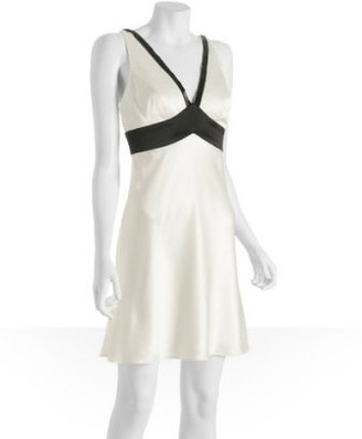 ABS by Allen Schwartz ivory & black beaded v-neck dress