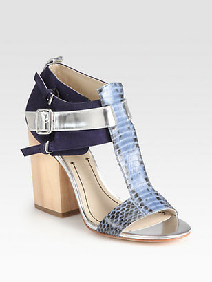 Elizabeth and James Carri Snake-Print Leather Sandals