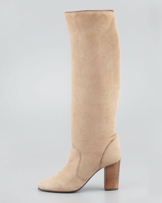 Lanvin Suede Shearling-Lined Knee Boot