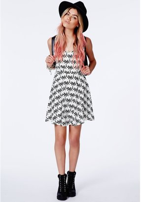 Missguided Tempesta Palm Print Skater Dress With Caged Back Detail