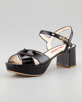 Prada Patent Crisscross Platform Sandal, Black