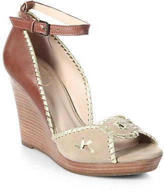 Jack Rogers Chrystie Leather & Suede Platform Wedge Sandals