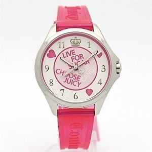 Juicy Couture Women's 1900716 Libby Pink Jelly Strap Watch $95 thestylecure.com