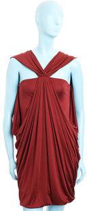Laila Azhar Draped Mini Dress- Burgundy
