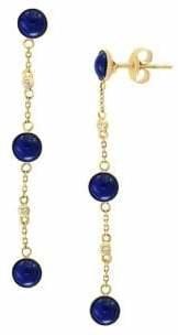 Effy 14K Yellow Gold Diamond Lapis Lazuli Earrings