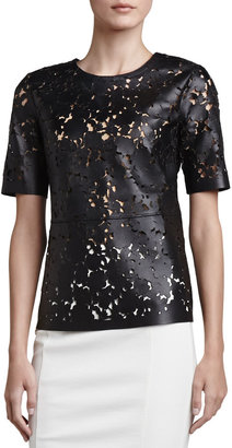 Burberry Laser-Cut Short-Sleeve Leather Top