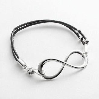 Silver-Plated Infinity Leather Bracelet