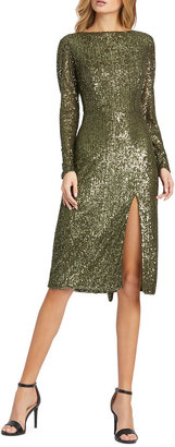 Mac Duggal Sequin Bateau-Neck Long-Sleeve Thigh-Slit Dress