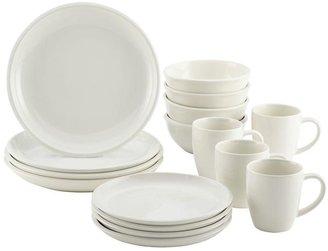 Rachael Ray Rise Stoneware 16-Piece Dinnerware Set in White