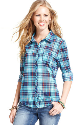 Planet Gold Juniors Top, Long Sleeve Plaid-Print Shirt