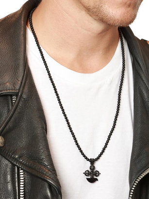 Nialaya Jewelry - Men'S Beaded Necklace With Matte Onyx And Black Cross Pendant