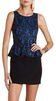 Charlotte Russe Lace Overlay Peplum Dress