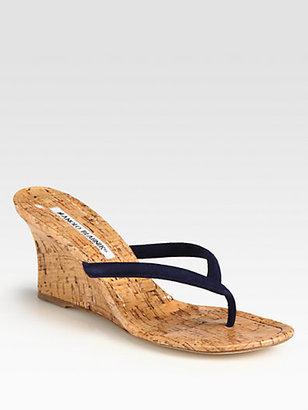 Manolo Blahnik Patwedfac Suede Cork Wedge Sandals