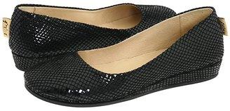 French Sole Zeppa (Black Snake Print Suede) Women's Slip on Shoes