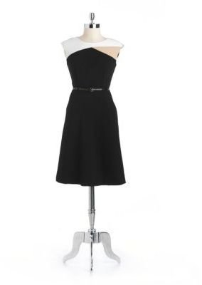 Calvin Klein Colorblocked Belted A-Line Dress