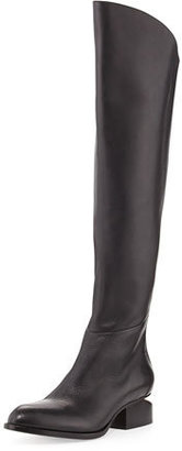 Alexander Wang Sigrid Lift-Heel Leather Knee Boot, Black $1,150 thestylecure.com