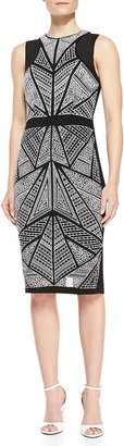 Nicole Miller Artelier Sleeveless Mosaic-Front Sheath Dress, Black/Ivory