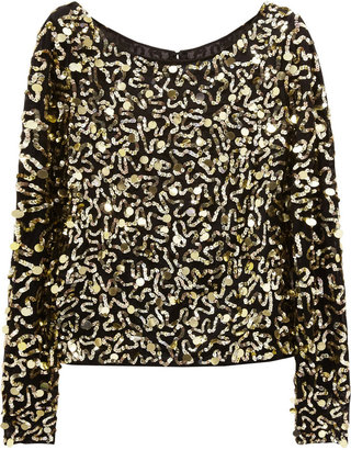Alice + Olivia Sequined stretch-silk top