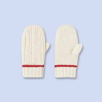 Jacadi Two-tone cable knit mittens