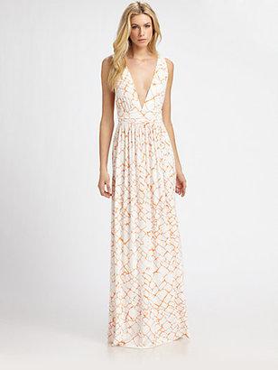 Rachel Pally Deep V-Neck Printed Jersey Maxi Dress