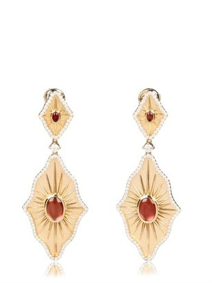 Gold, Diamond And Cabochon Earrings