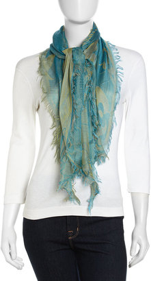 John Galliano Floral Fringe Scarf, Green