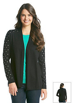 Chaus Open Front Embellished Cardigan