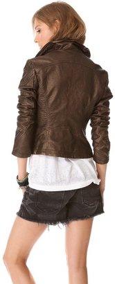 Free People Metallic Faux Leather Jacket