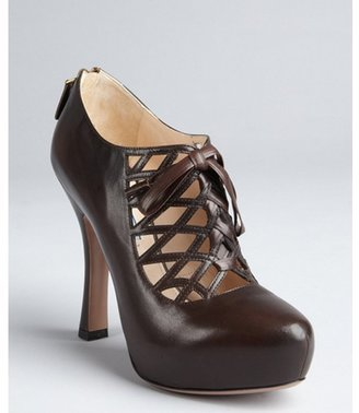 Prada dark brown leather caged cutout lace-up platform pumps
