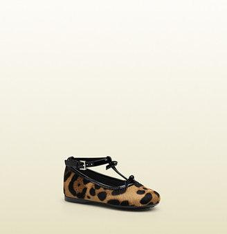 Gucci Jaguar Printed Leather Ballet Flat