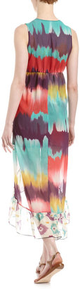 Sweet Pea High-Low Ikat Print Maxi Dress