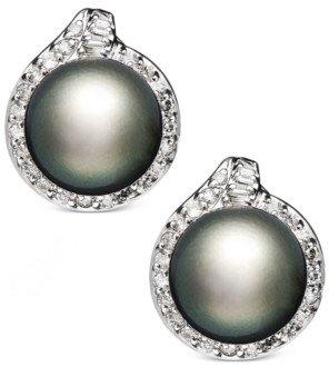 Macy's 14k White Gold Earrings, Cultured Tahitian Pearl (11mm) and Diamond (3/4 ct. t.w.) Stud Earrings