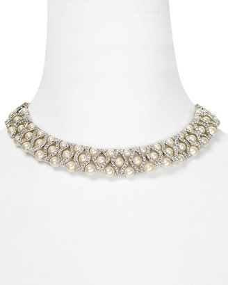 """Carolee Crystal and Pearl Collar Necklace, 15"""""""